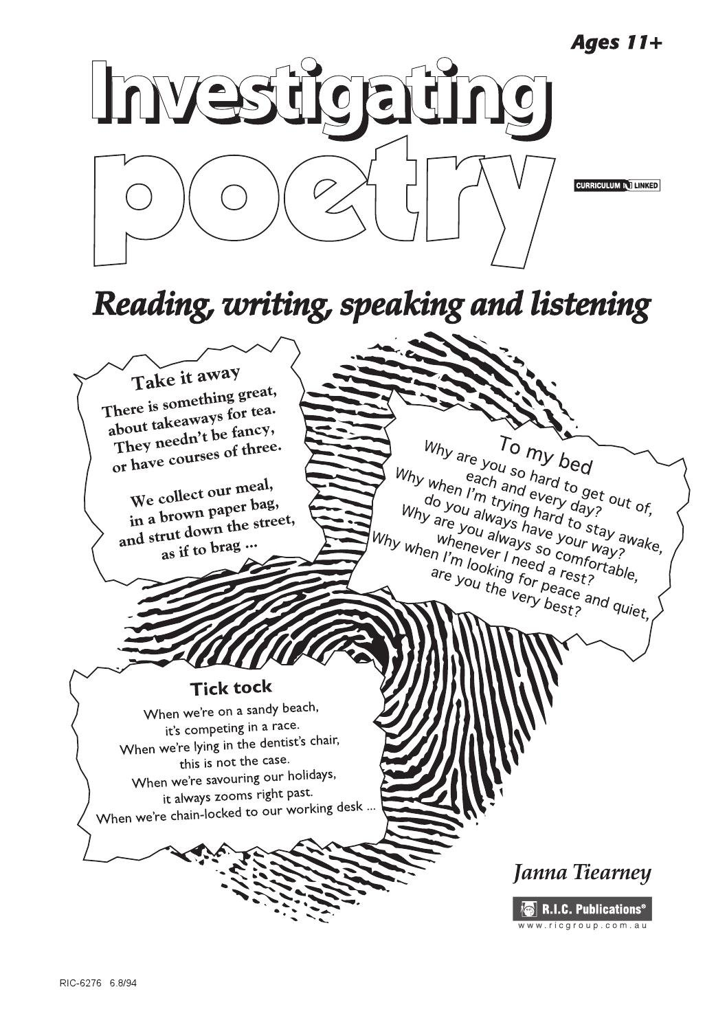 Investigating Poetry Ages 11Teacher Superstore  Issuu For Teacher039S Discovery Spanish Worksheets Answers