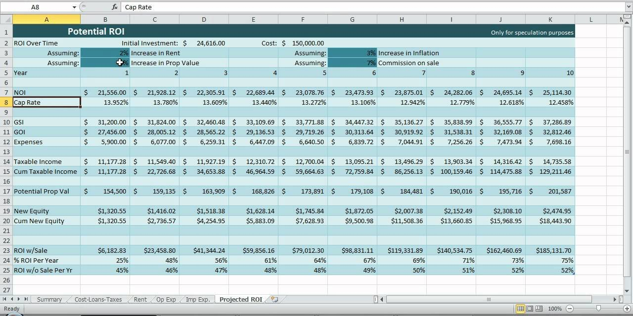 Investment Property Spreadsheet Real Estate Excel Roi Income Noi ... For Commercial Real Estate Spreadsheet