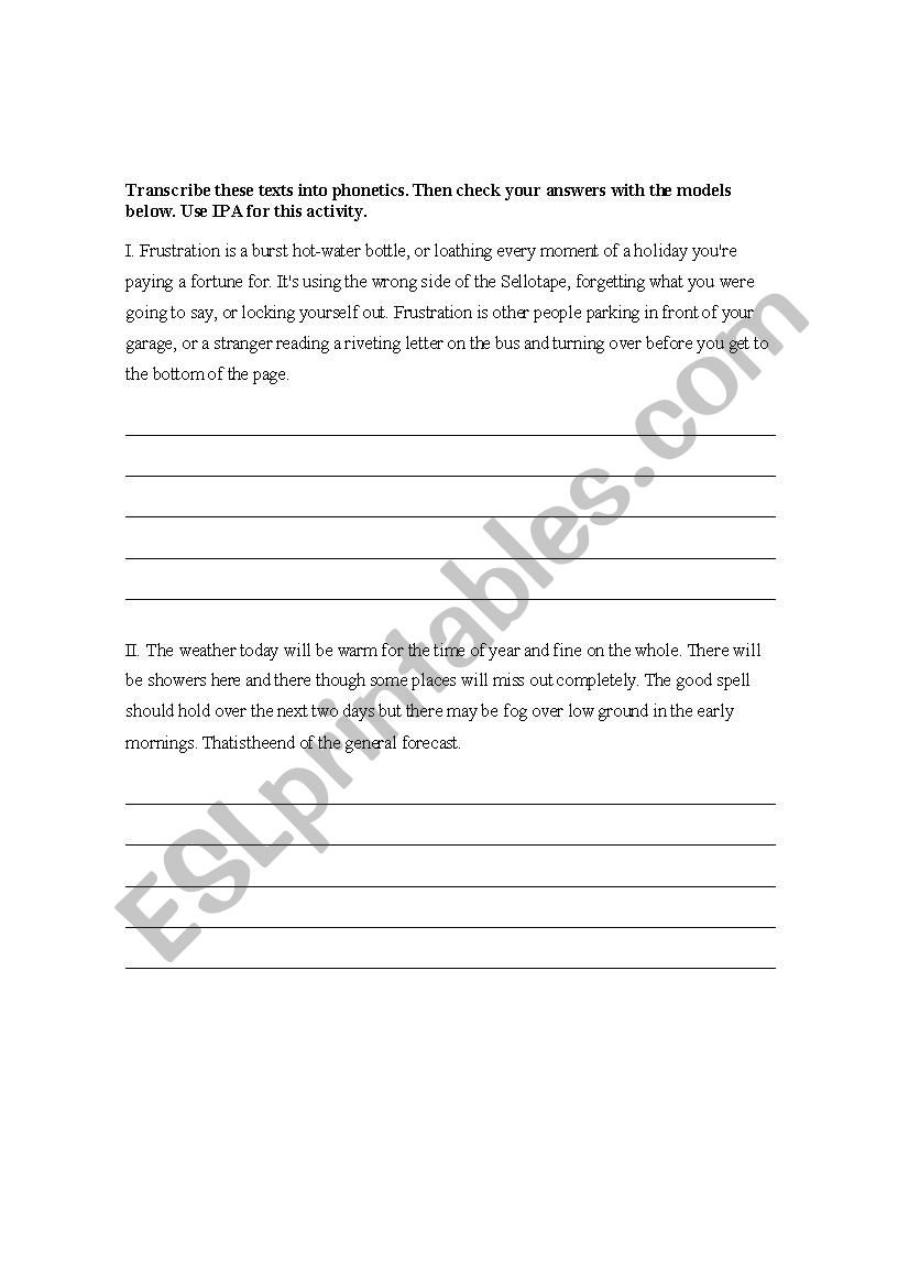 Ipa Transcription Practice For Phonetics With Keys  Esl Worksheet For Transcription Practice Worksheet