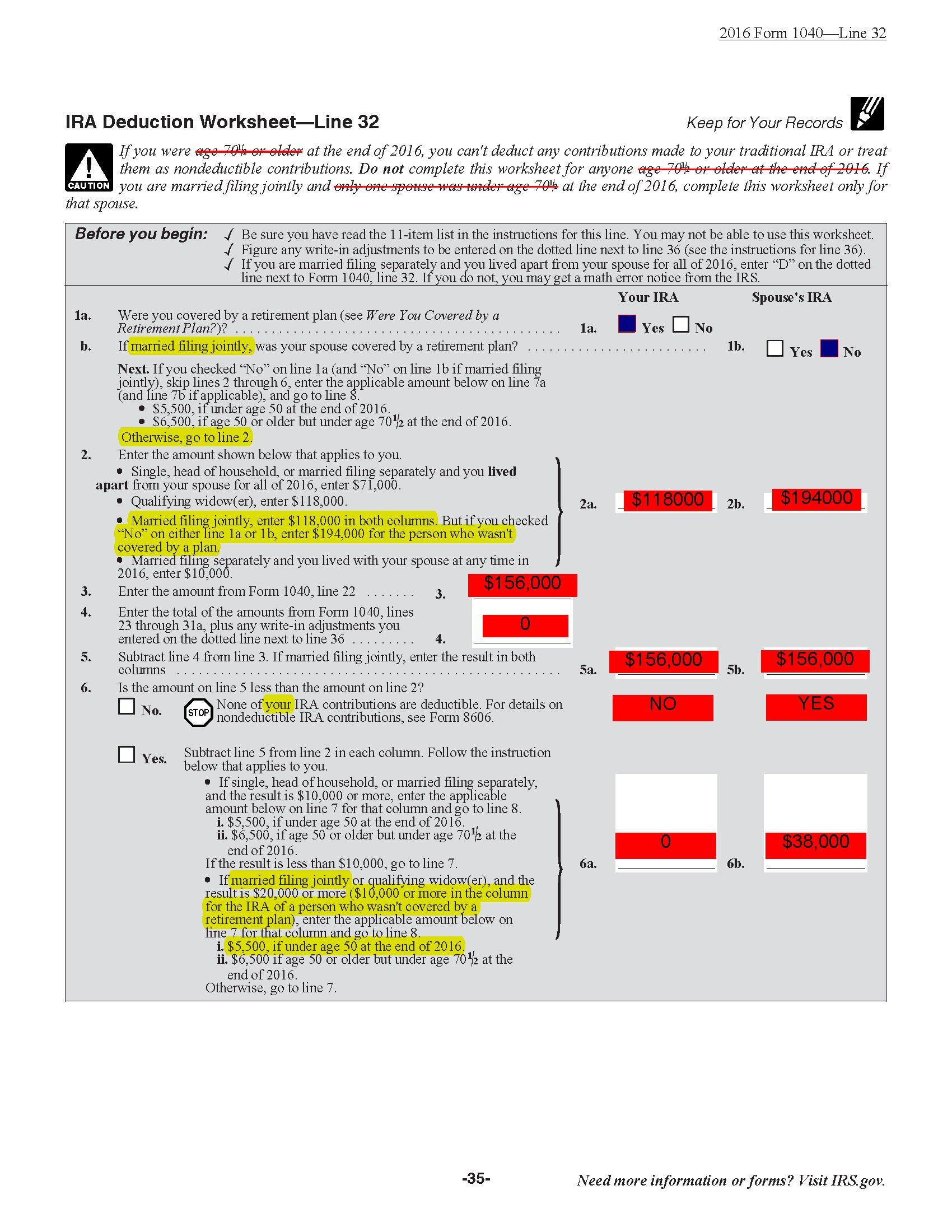 Ira Deduction Worksheet  Yooob For Ira Deduction Worksheet 2016