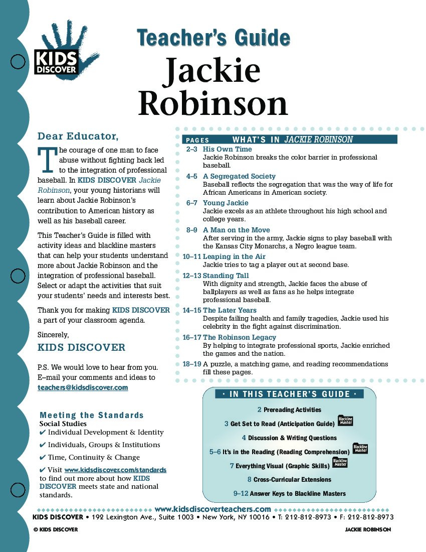 Jackie Robinson  Kids Discover As Well As Jackie Robinson Worksheets 5Th Grade
