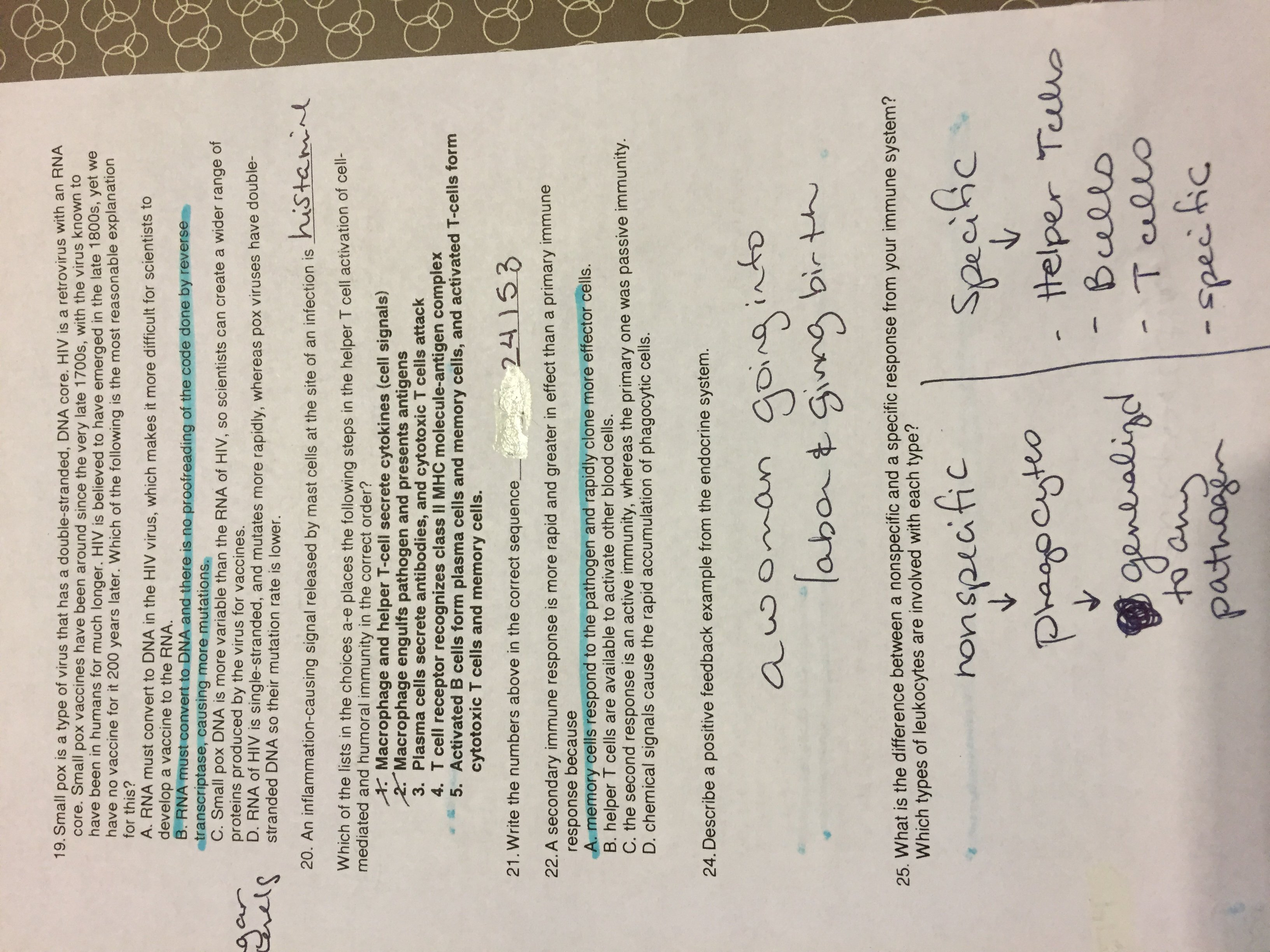 Janssen Catherine  Ap Biology Handouts And Primary And Secondary Immune Response Worksheet Answers