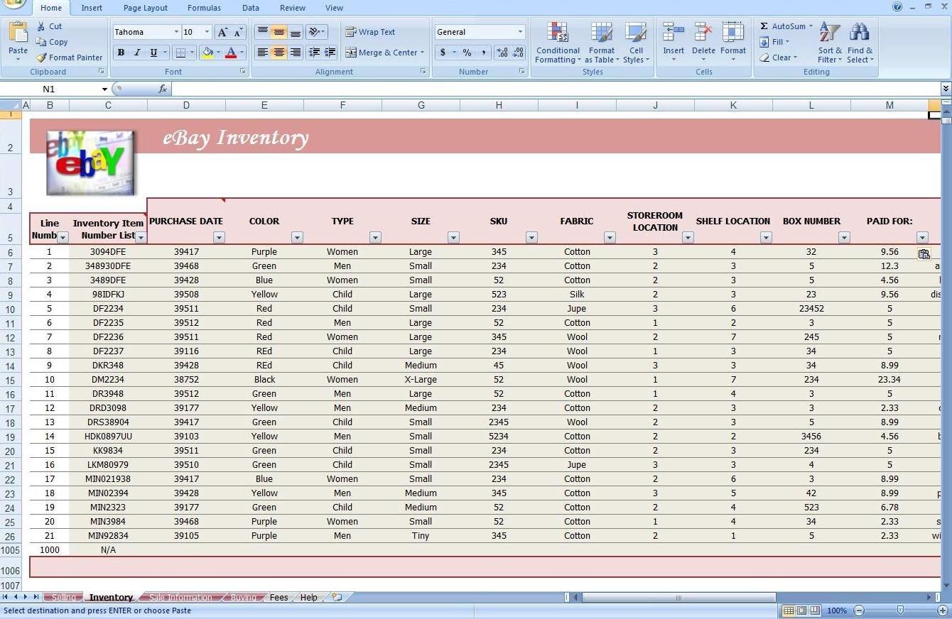 Jewelry Inventory Spreadsheet Template Ebay Store Spreadsheet Track ... Inside Free Ebay Inventory Spreadsheet Template
