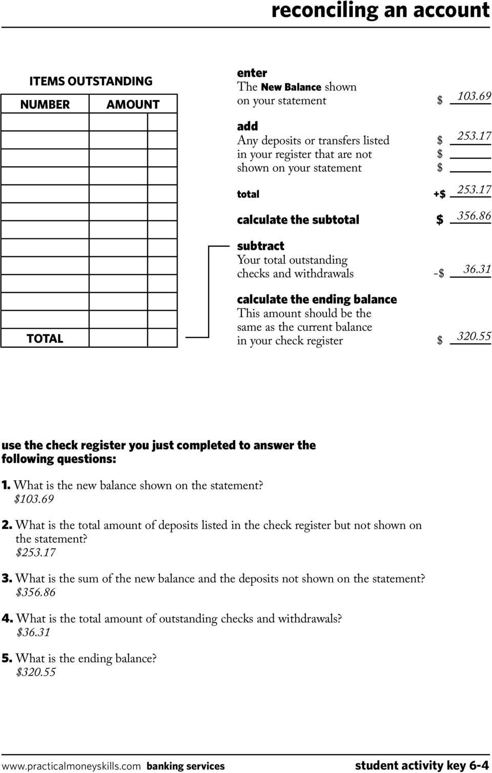 Keeping A Running Balance Answer Key  Pdf As Well As Reconciling A Checking Account Worksheet Answers