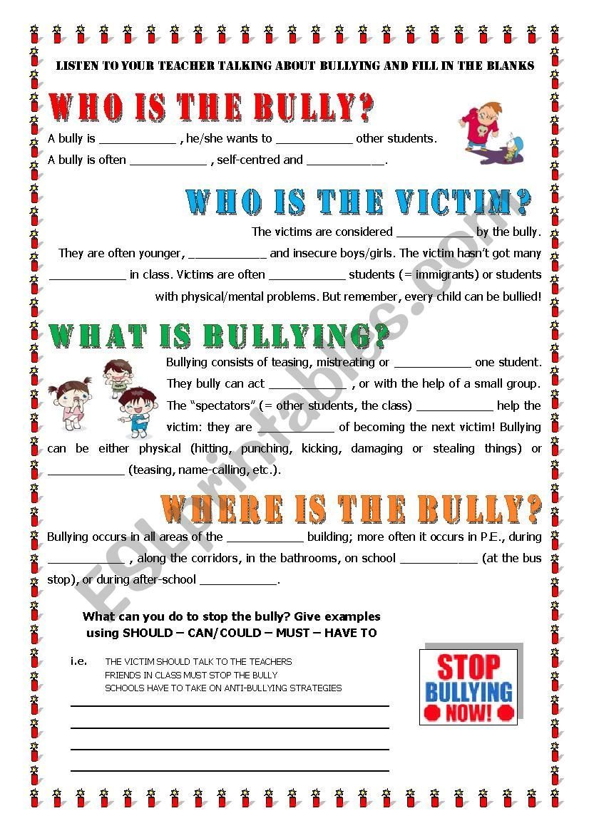 Key Informaton About Bullying  Esl Worksheetalex076 With Bullying Worksheets For Elementary Students