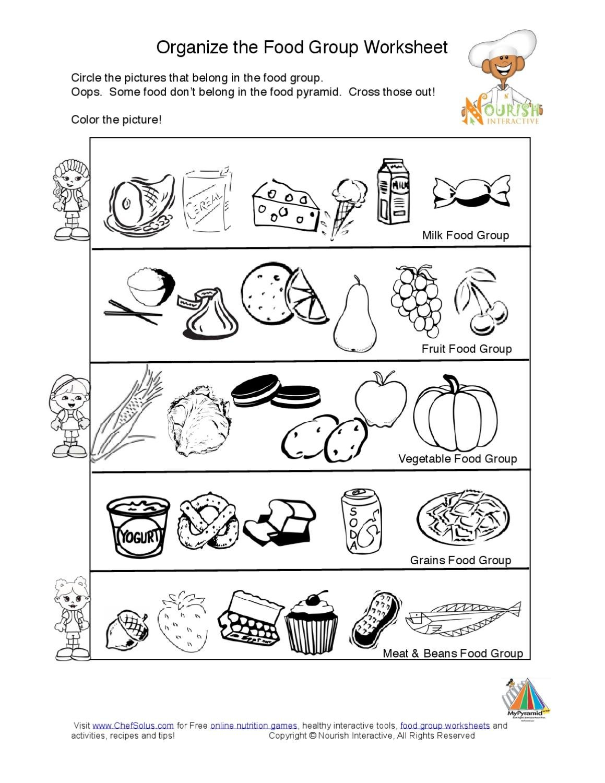 Kidsfoodpyramidfoodgroupslearningnutritionworksheetk5 Intended For Food Groups Worksheets