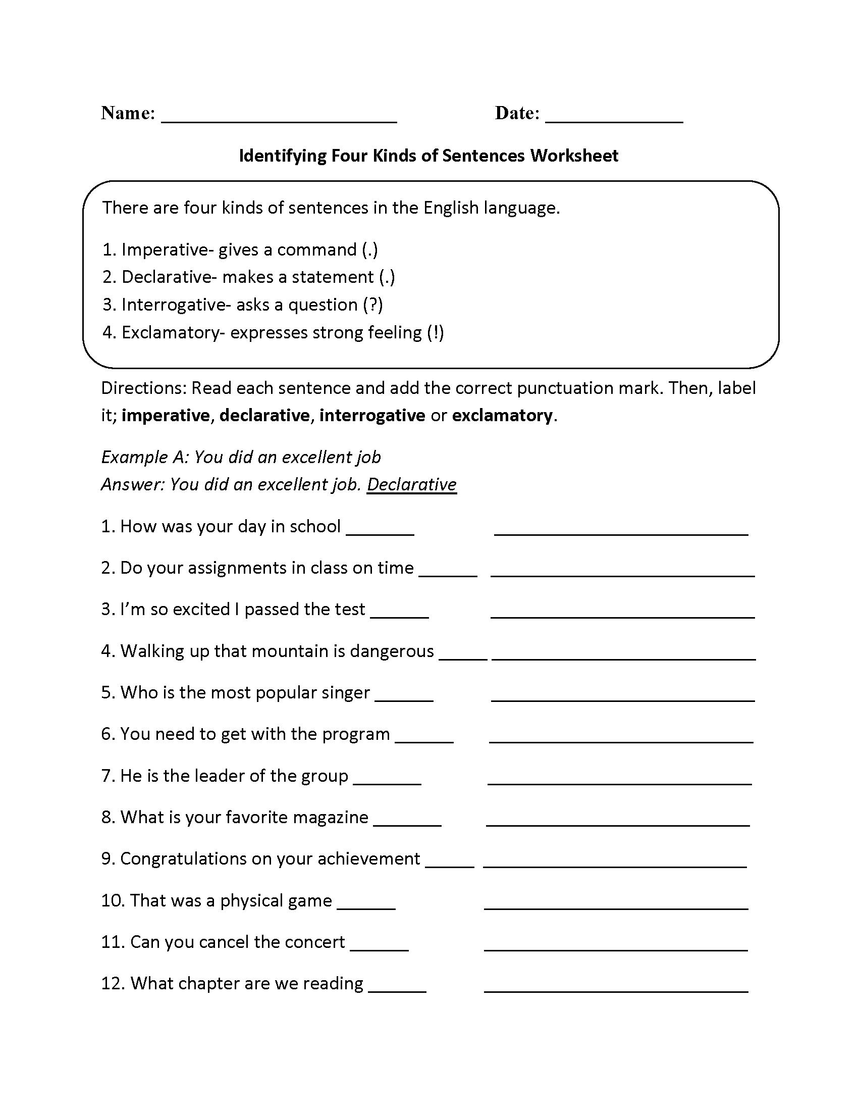 Kinds Of Sentences Worksheets  Practicing Four Kinds Of Sentences Together With Kinds Of Sentences Worksheet