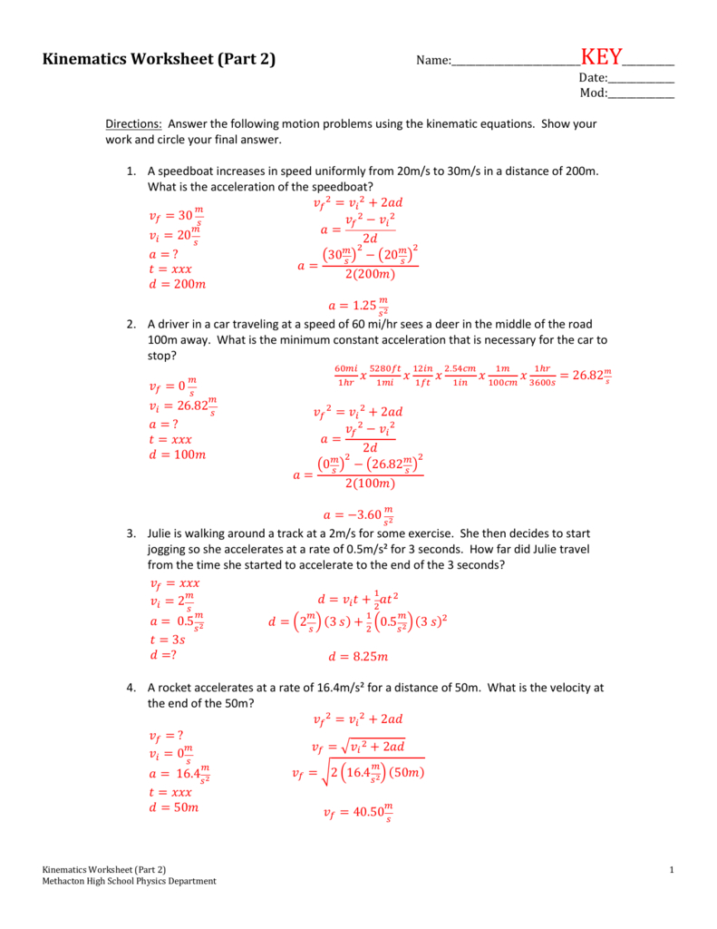 Kinematics Worksheet Part 2 Intended For Kinematics Worksheet With Answers