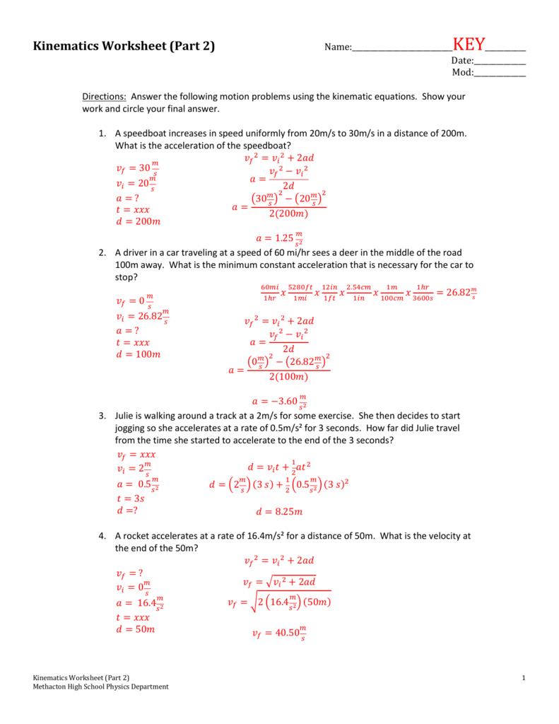 Kinematics Worksheet Part 2 Regarding Worksheet Motion Problems Part 2 Answer Key