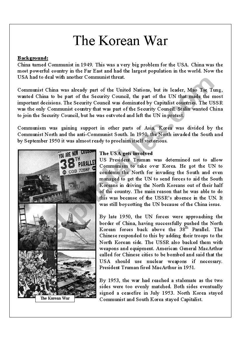 Korean War  Esl Worksheetginalee81 And Korean War Worksheet
