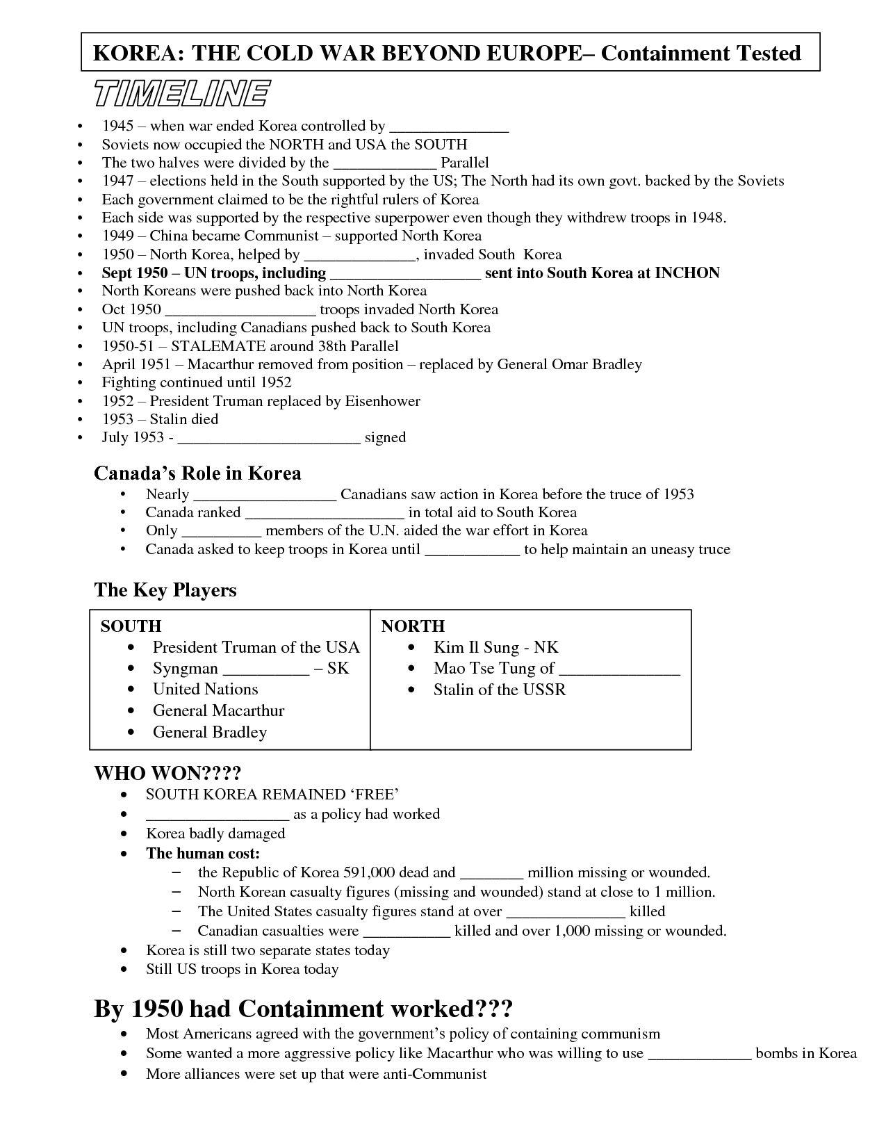 Korean War Worksheet  Briefencounters In Korean War Worksheet