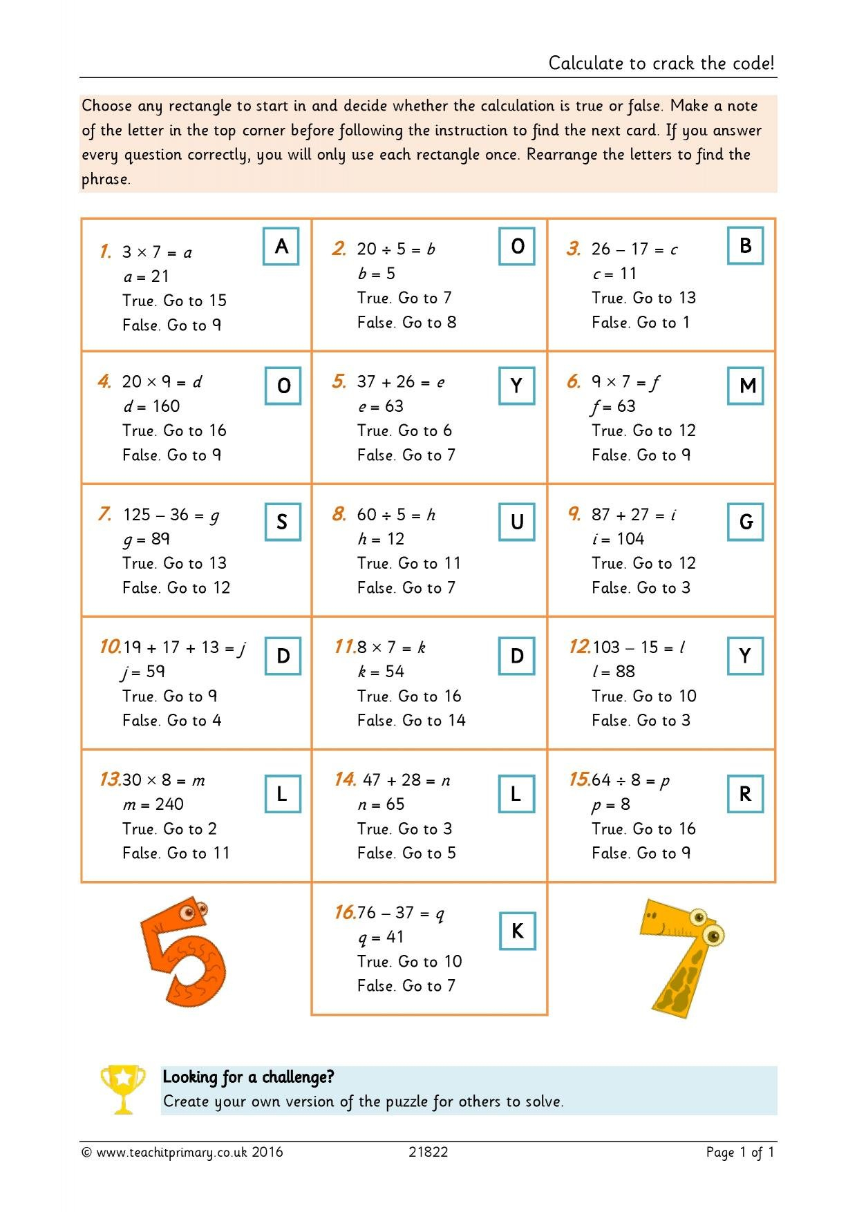 Ks2  Addition And Subtraction The Basics  Teachit Primary For Crack The Code Math Worksheet Answers