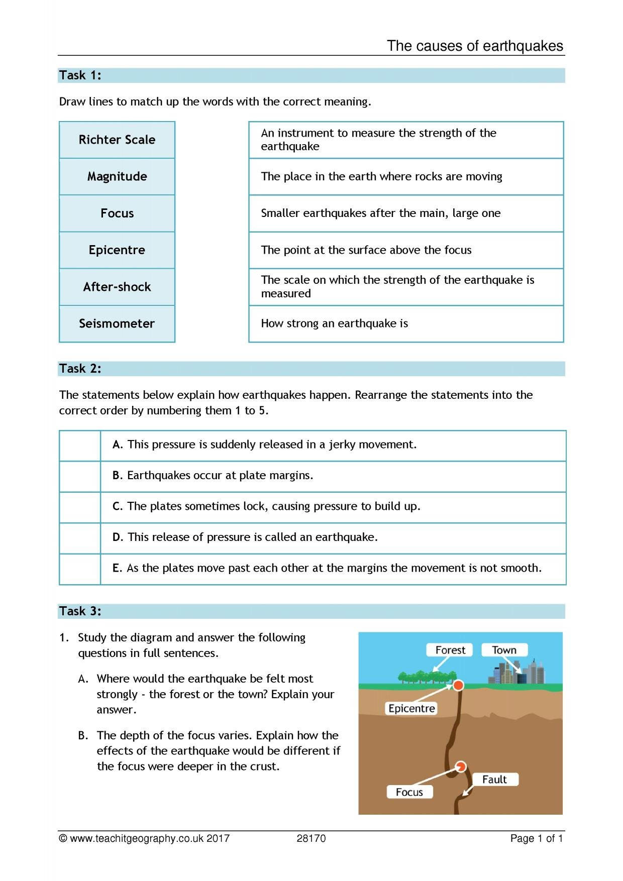 Ks3  Earthquakes  Teachit Geography With Earthquake Worksheets Pdf
