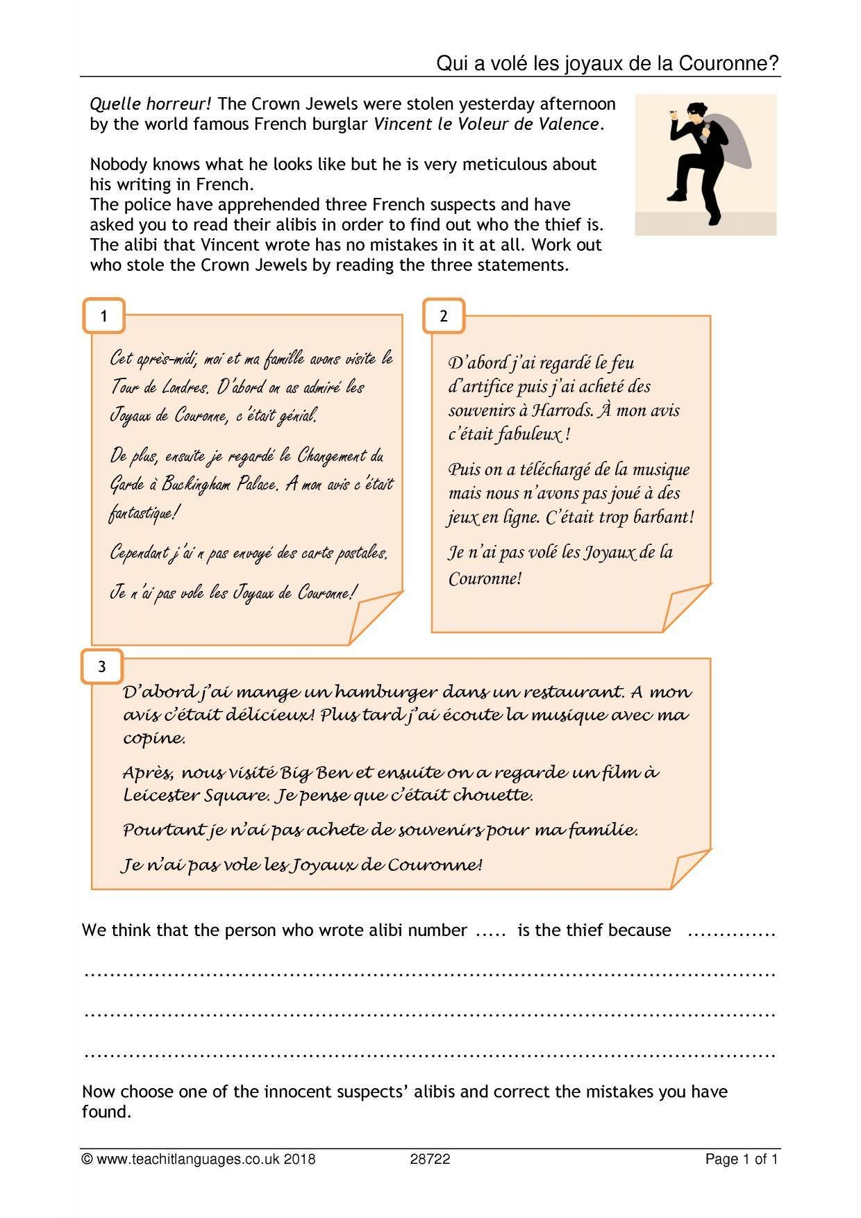 Ks3 French  Reading  Teachit Languages Or La Famille French Worksheet
