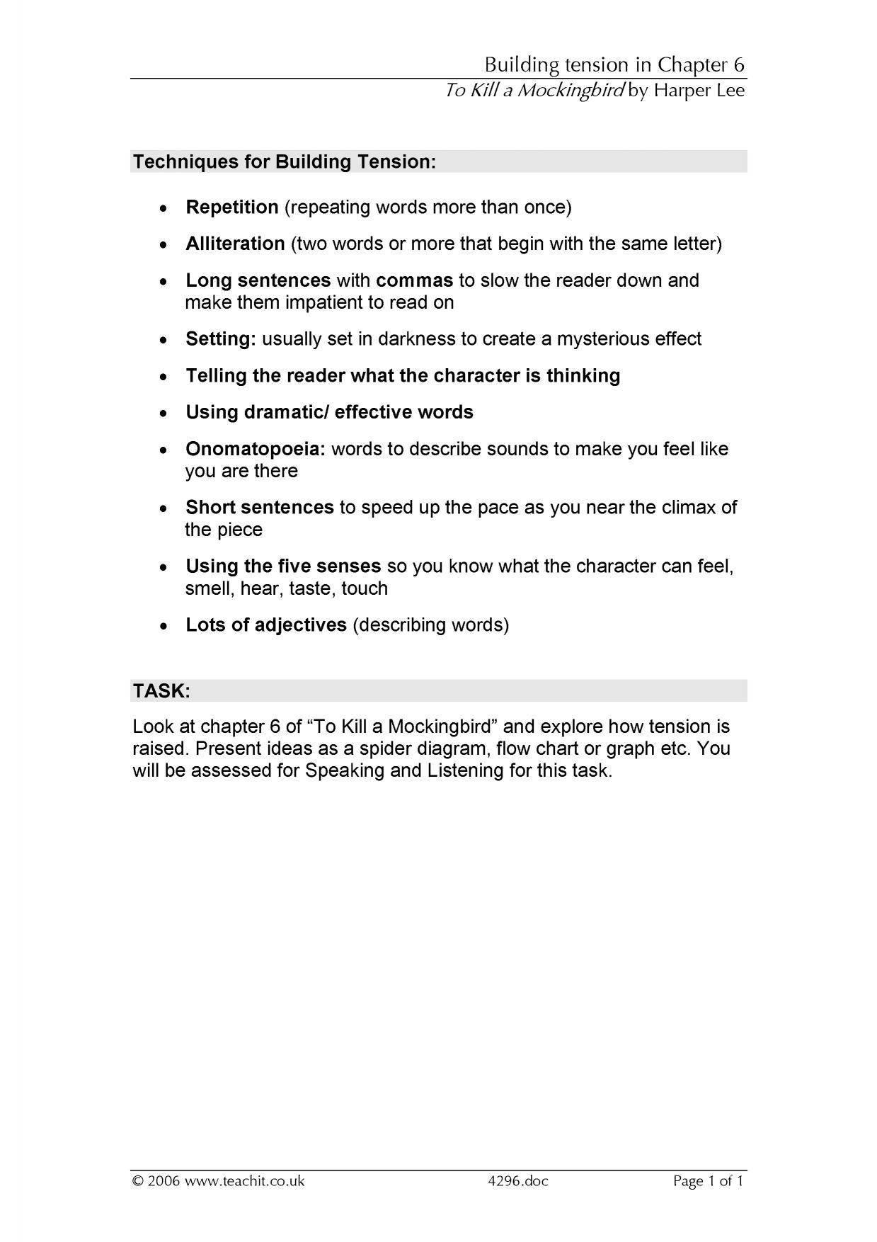 Ks4 Prose  To Kill A Mockingbirdharper Lee  Teachit English Inside To Kill A Mockingbird Theme Worksheet