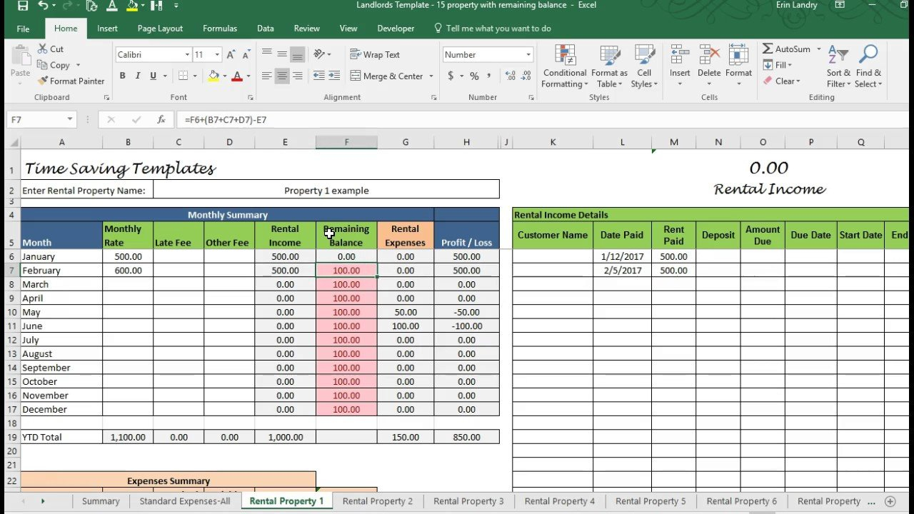 Landlord Template Demo, Track Rental Property In Excel - Youtube Together With Rental Income And Expense Spreadsheet Template