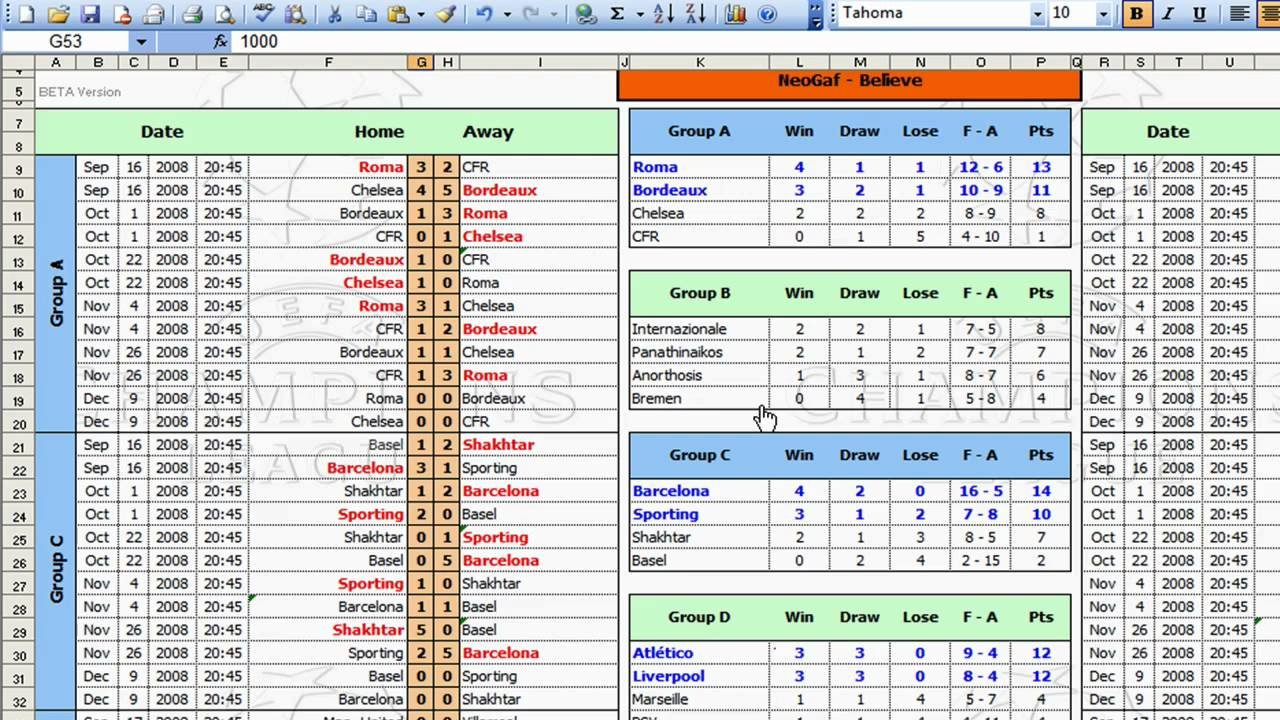 League Tournament Template   Youtube Also Darts League Excel Spreadsheet