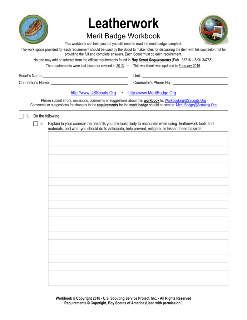Leatherwork  Us Scouting Service Project Inside Family Life Merit Badge Worksheet Answers