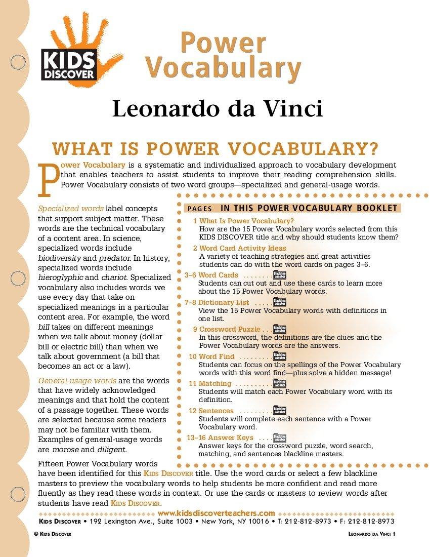 Leonardo Da Vinci  Kids Discover Along With Leonardo Da Vinci Inventions Worksheet