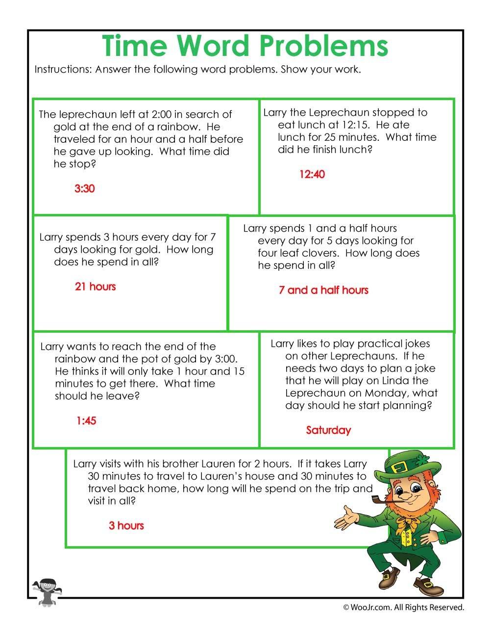 Leprechaun 3Rd Grade Math Worksheet Answer Key  Woo Jr Kids Throughout On The Button Math Worksheet