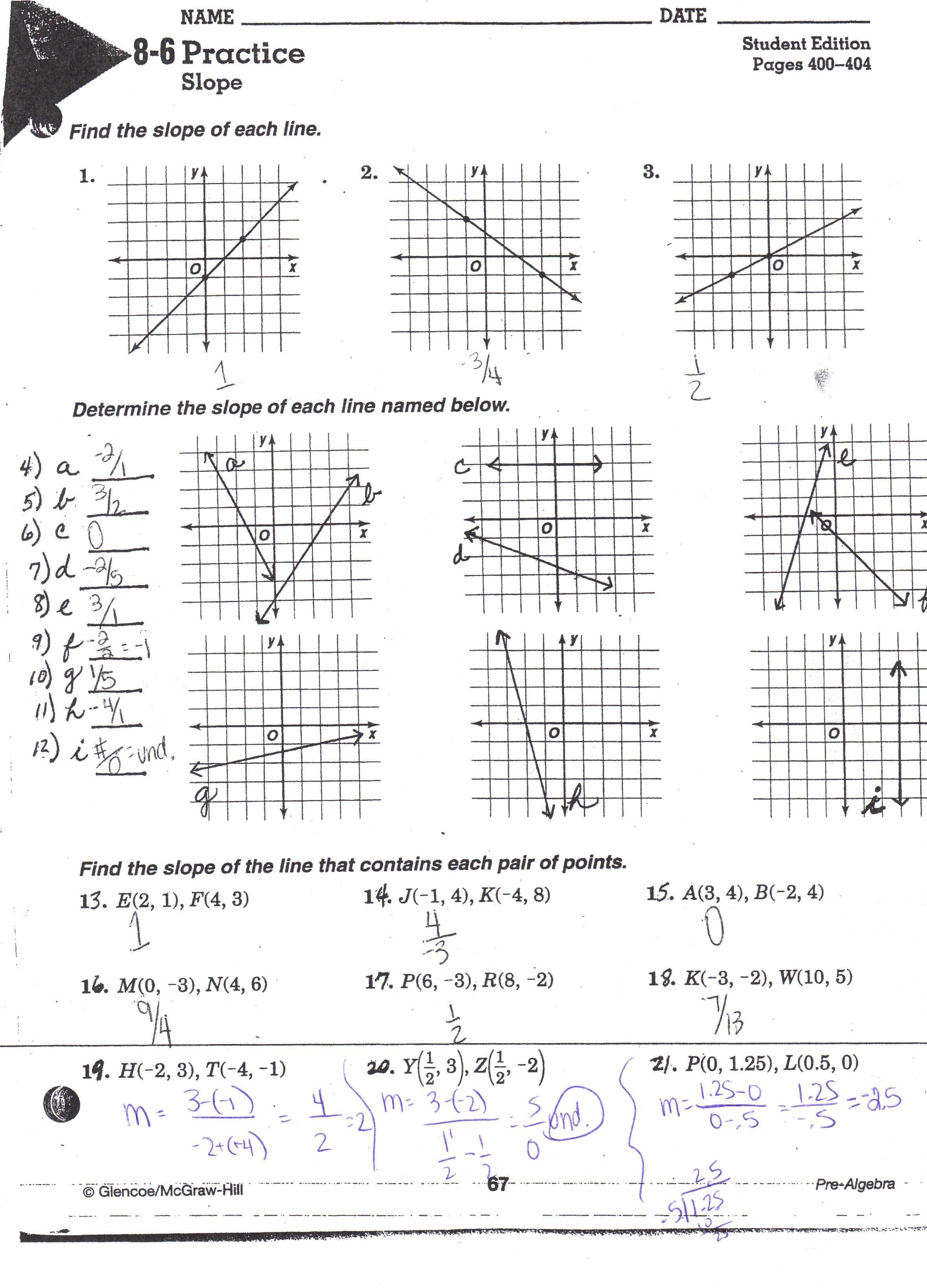 Lesson 4 Homework Practice Slopeintercept Form Answer Key  Type An For Equations Of Lines Worksheet Answer Key
