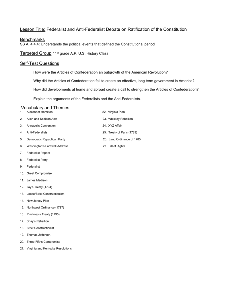 Lesson Title Federalist And Antifederalist Debate On Ratification Of Along With The Federalist Debate Worksheet Answers