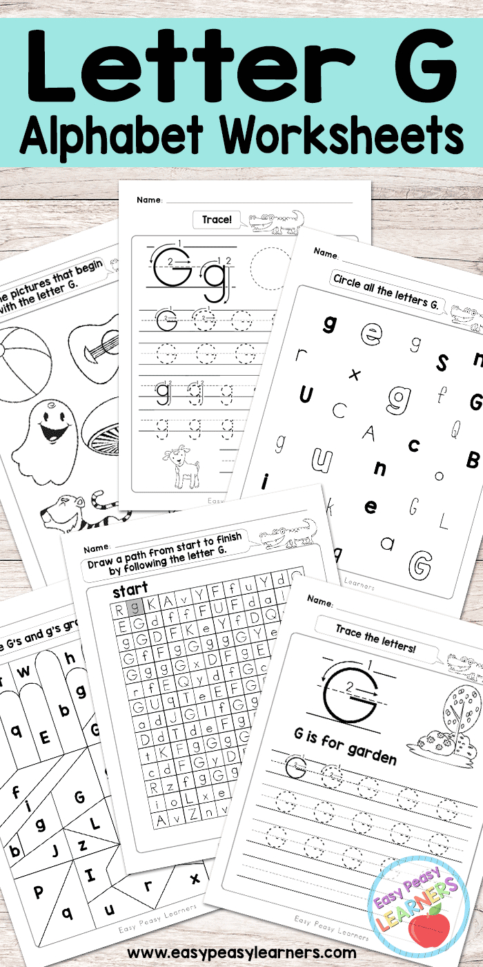 Letter G Worksheets  Alphabet Series  Easy Peasy Learners Or Letter G Tracing Worksheets Preschool