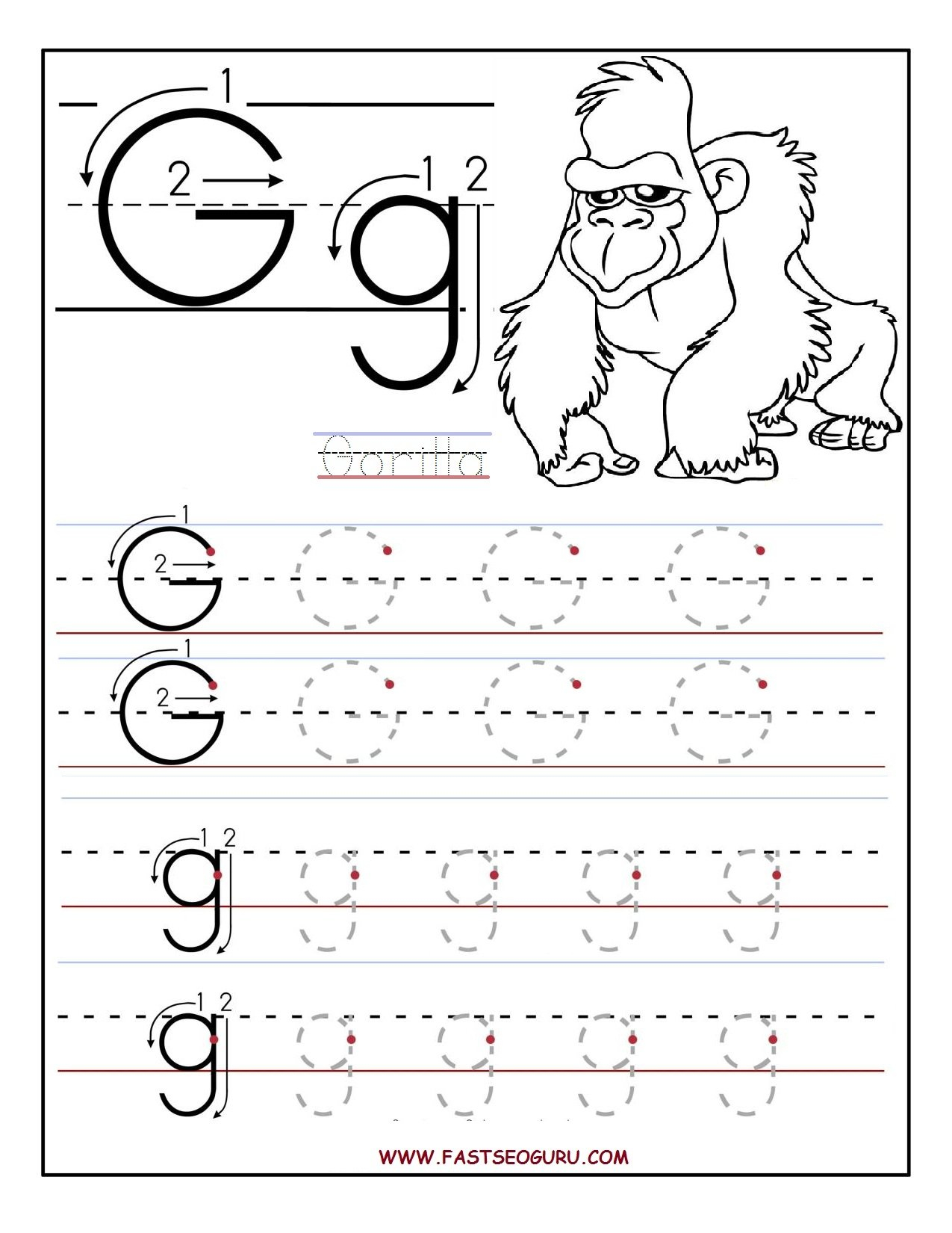 Letter G Worksheets  Gplusnick Together With Learning Letters Worksheets