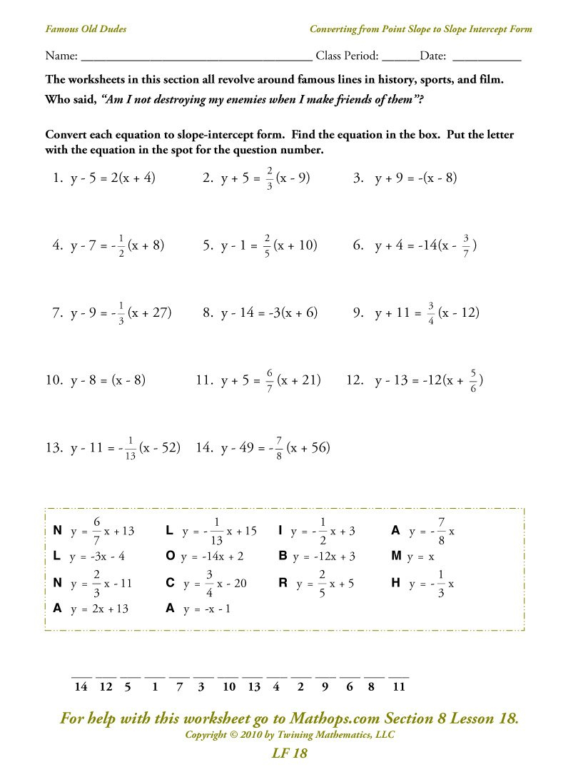 Lf 18 Converting From Point Slope To Slope Intercept Form  Mathops Regarding Point Slope Form Worksheet With Answers