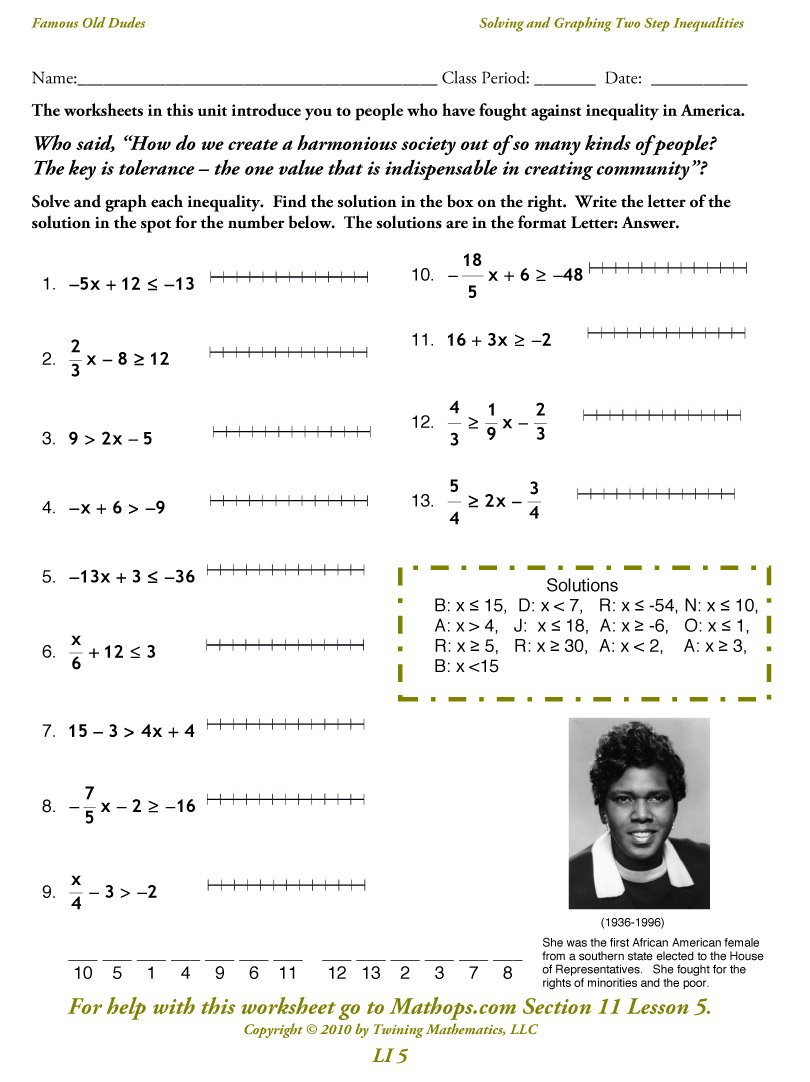 Li 5 Solving And Graphing Two Step Inequalities  Mathops Within Solving Multi Step Inequalities Worksheet