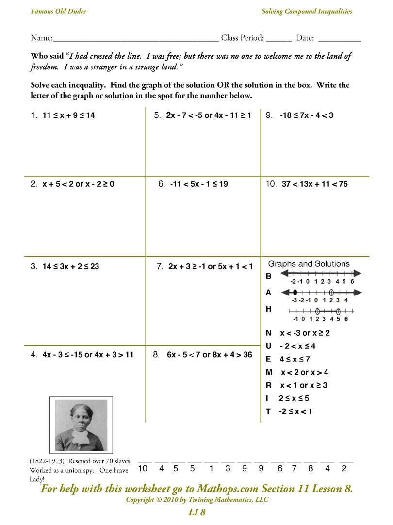 Li 8 Solving Compound Inequalities  Mathops Also Solving Inequalities Worksheet