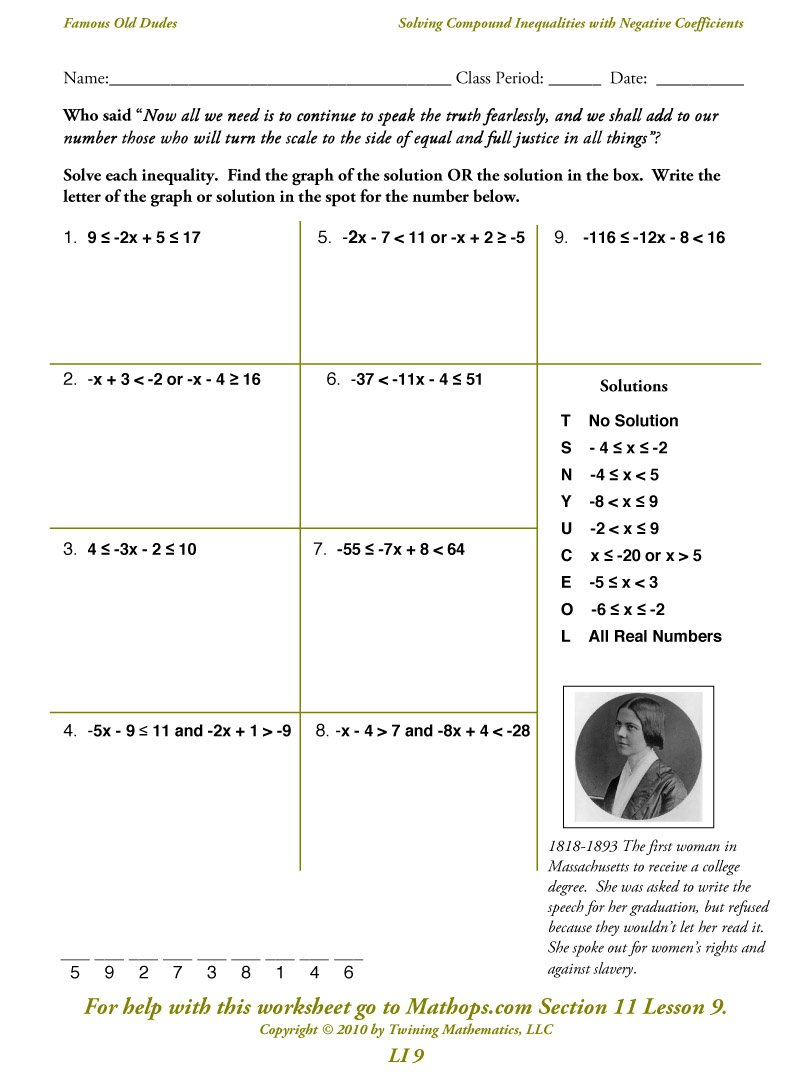 Li 9 Solving Compound Inequalities With Negative Coefficients  Mathops Within Solving Inequalities Worksheet