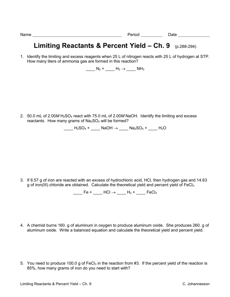 Limiting Reactants Worksheet Along With Limiting And Excess Reactants Worksheet