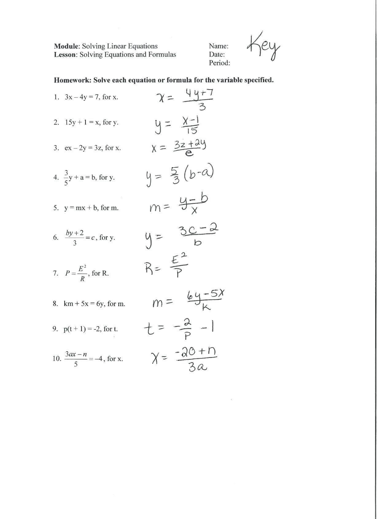 Literal Equations Worksheet 1 Answer Key — excelguider.com