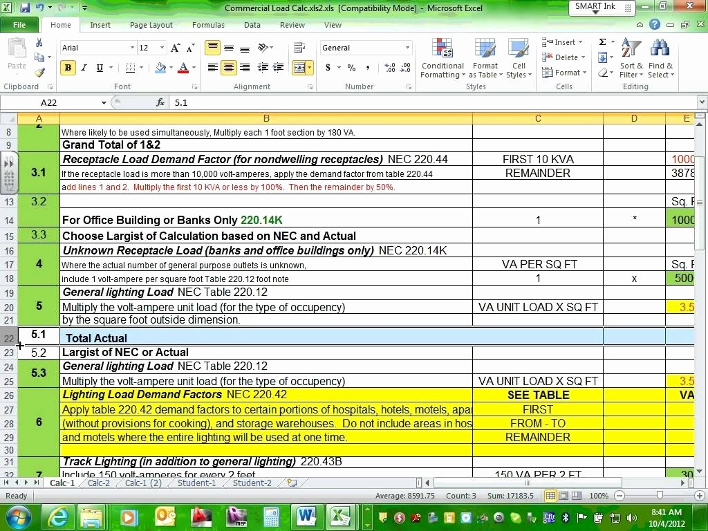 Load Calculation Excel Then Electrical Panel Load Calculation ... Also Electrical Panel Load Calculation Spreadsheet