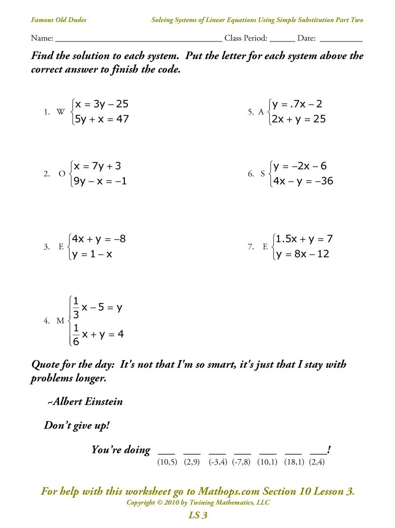 Ls 3 Solving Systems Of Equations Using Simple Substitution Part Also Solving Systems Of Equations By Elimination Worksheet Show Work