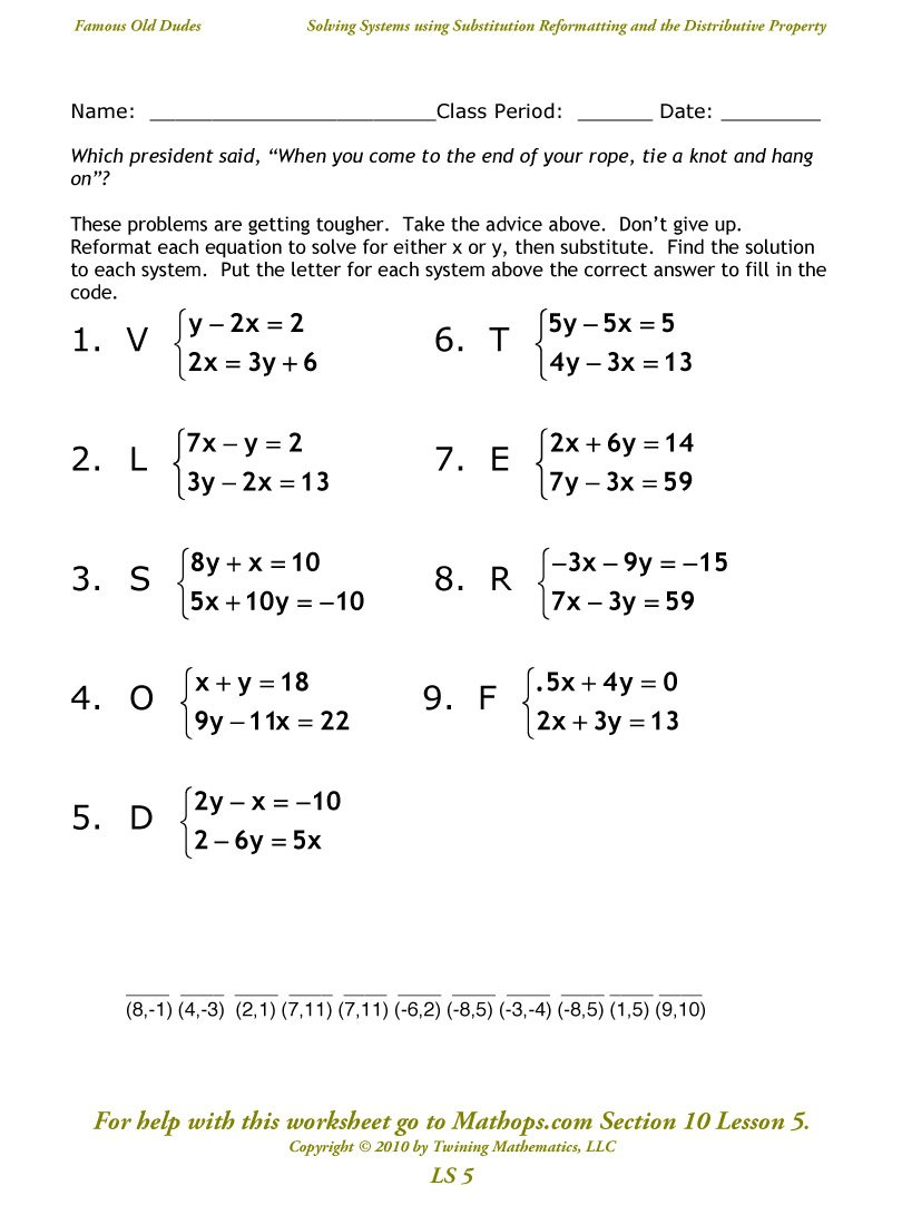 Ls 5 Solving Systems Using Substitution And The Distributive As Well As Solving Systems By Substitution Worksheet