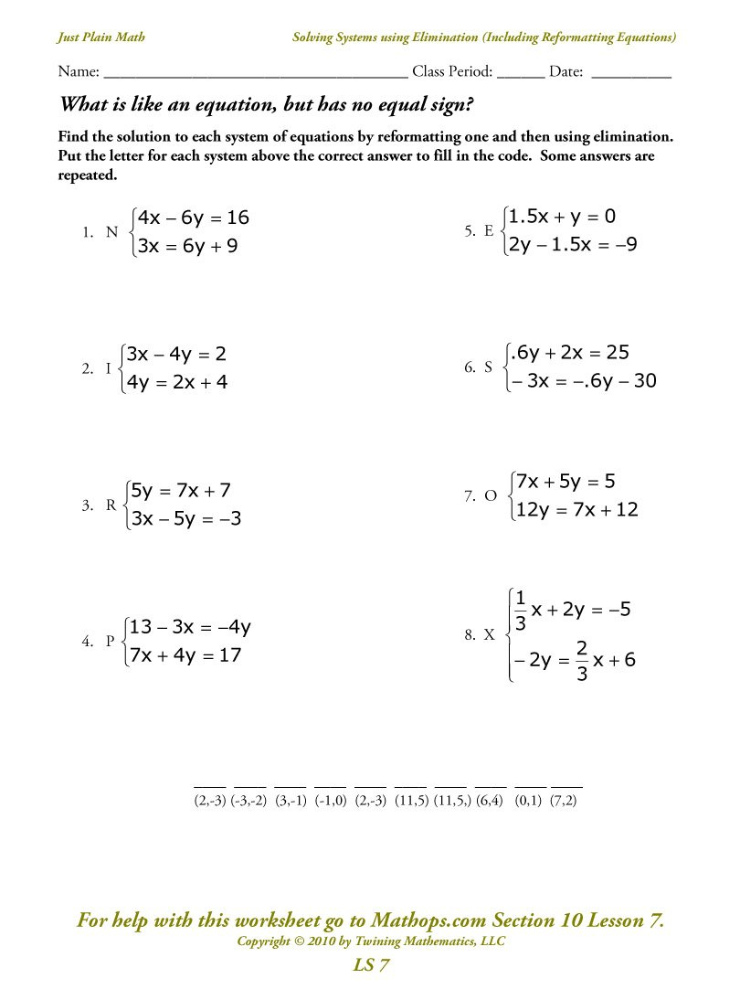 Ls 7 Solving Systems Using Elimination Including Reformatting For Solving Systems By Elimination Worksheet