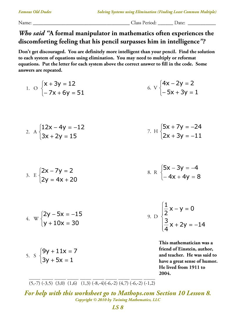 Ls 8 Solving Systems Using Elimination Finding The Least Common For Solving Systems Of Equations By Elimination Worksheet Show Work