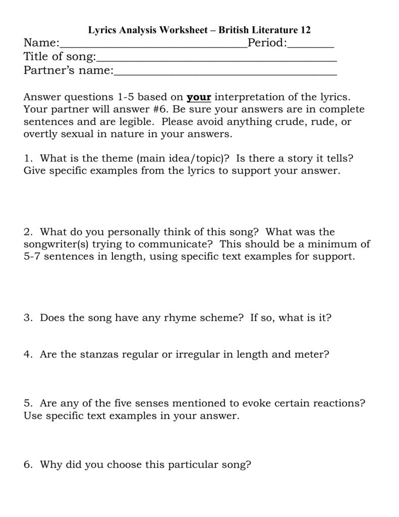 Lyrics Analysis Worksheet Or Poetry Analysis Worksheet Answers