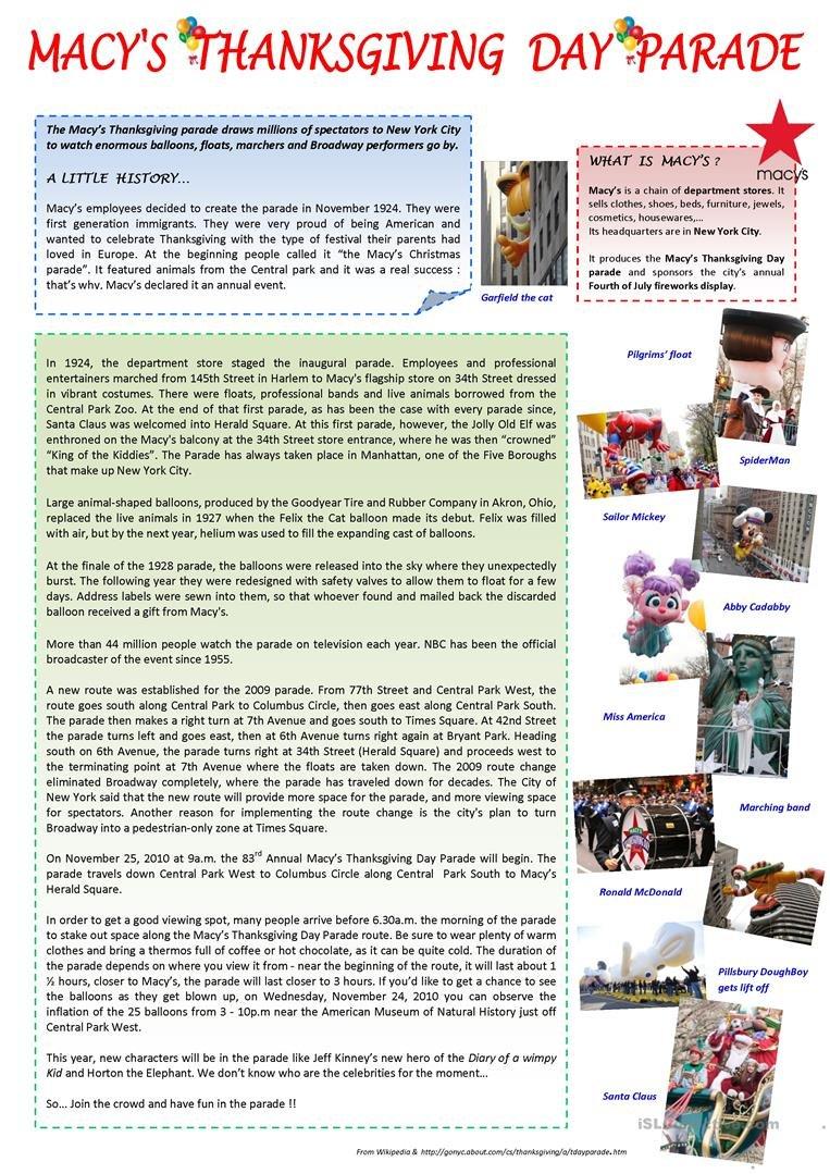 Macy's Thanksgiving Day Parade Worksheet  Free Esl Printable For Thanksgiving Day Worksheets