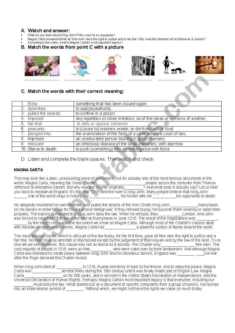 Magna Carta  Esl Worksheetsweethoney Also Magna Carta Worksheet