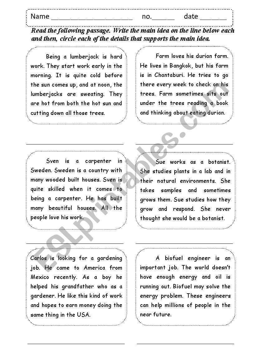 Main Idea Supporting Details  Esl Worksheetshamus Inside Main Idea And Details Worksheets