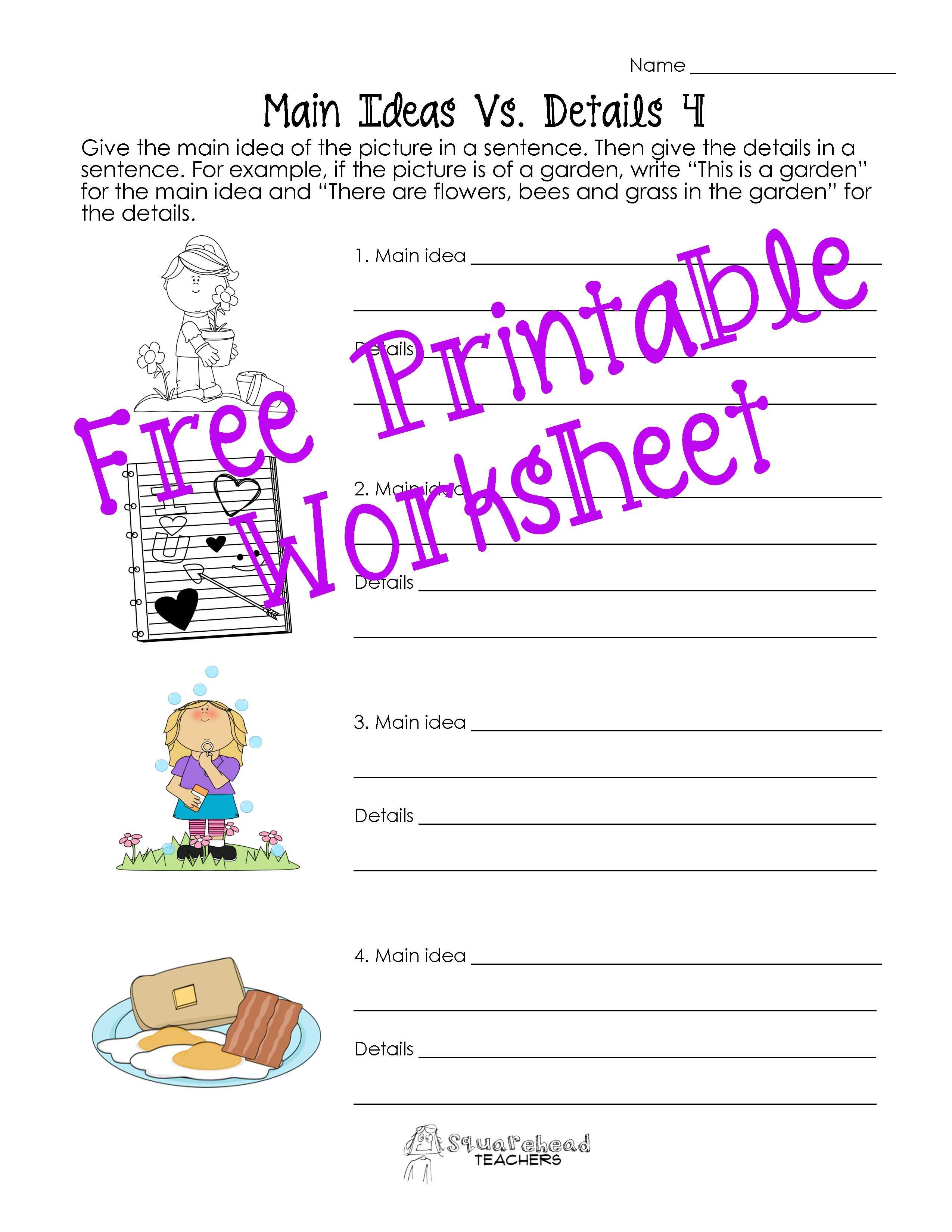 Main Idea Vs Details Worksheets Post 2  Squarehead Teachers Regarding Main Idea And Details Worksheets