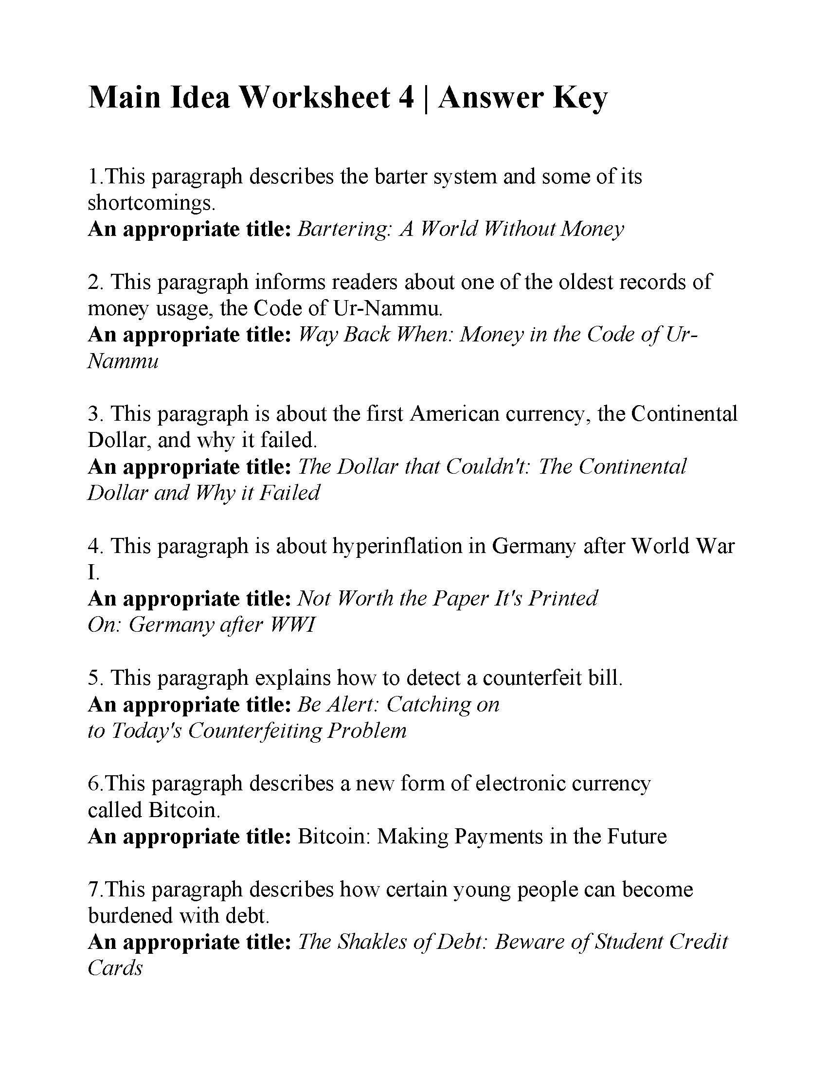Main Idea Worksheet 4  Answers In Main Idea Worksheets