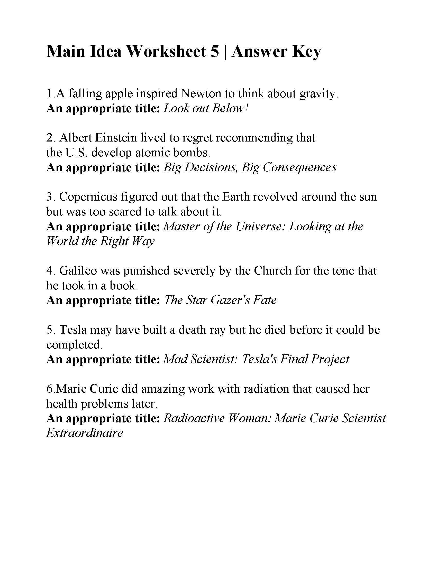 Main Idea Worksheet 5  Answers Or Main Idea Worksheets