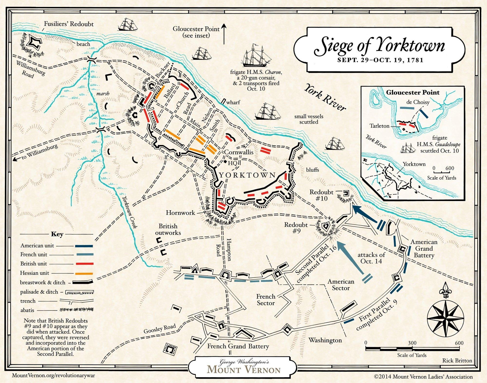 Map The Siege Of Yorktown · George Washington's Mount Vernon In Revolutionary War Battles Map Worksheet