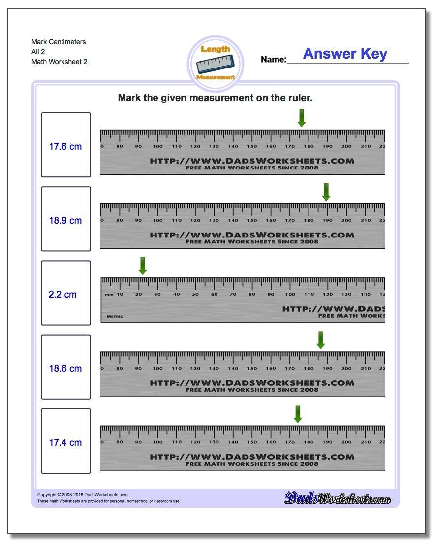 Mark The Ruler In Metric Within Using A Metric Ruler Worksheet