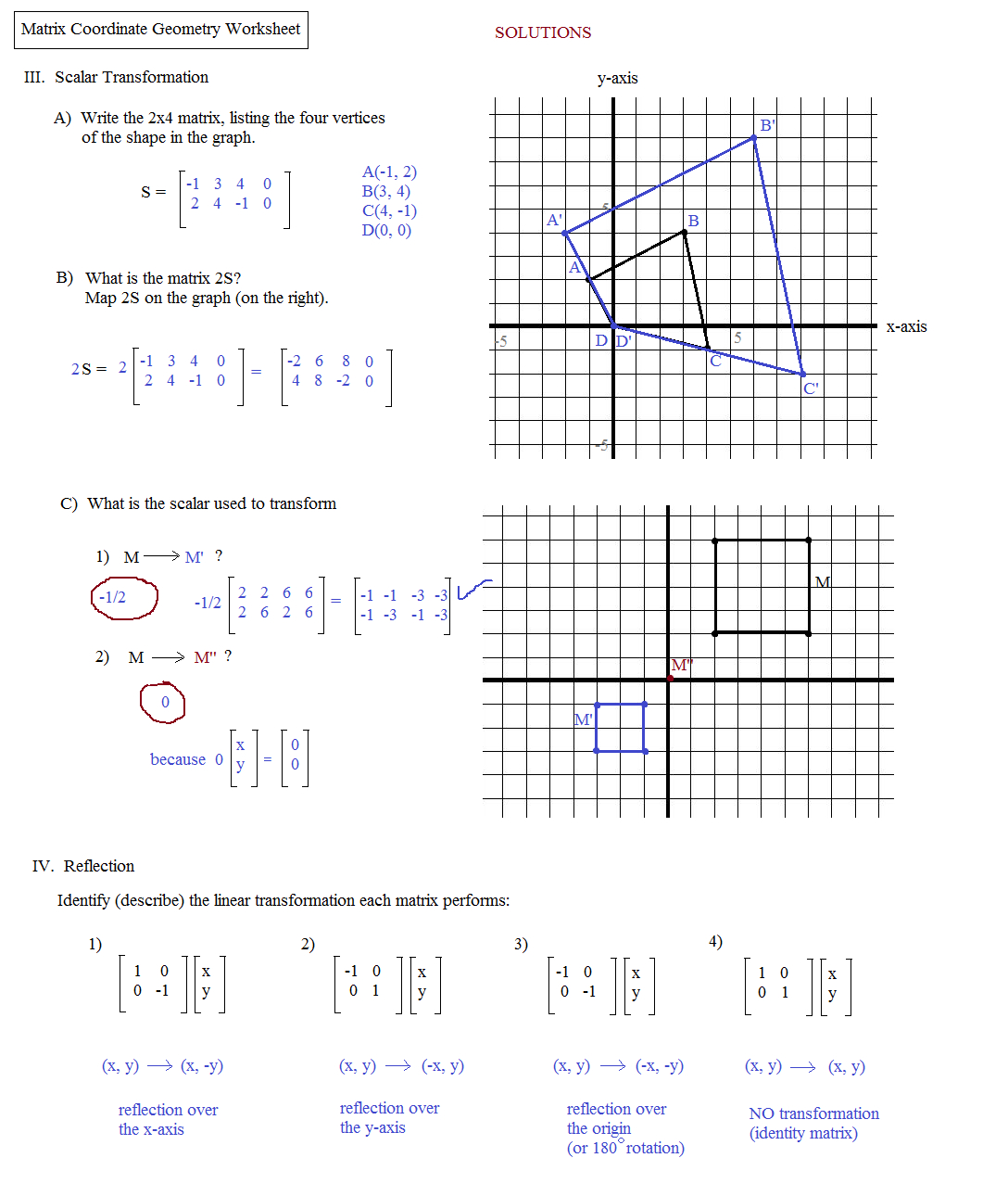 Math Plane  Matrix Iii Coordinate Geometry For Matrices Worksheet With Answers Pdf