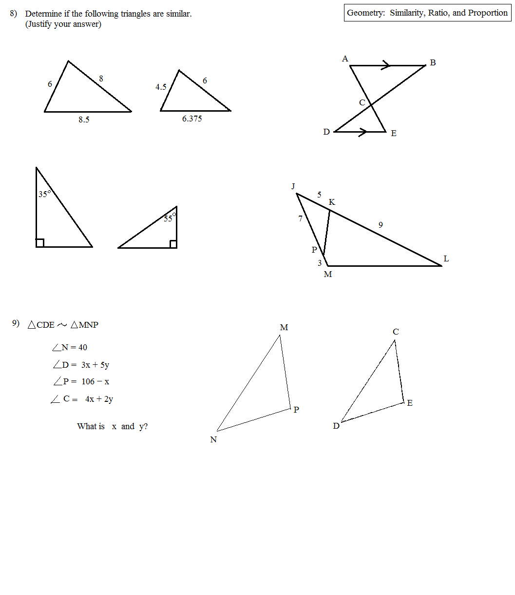 Math Plane  Similarity Ratio And Proportion Questions Intended For Similarity And Proportions Worksheet Answers